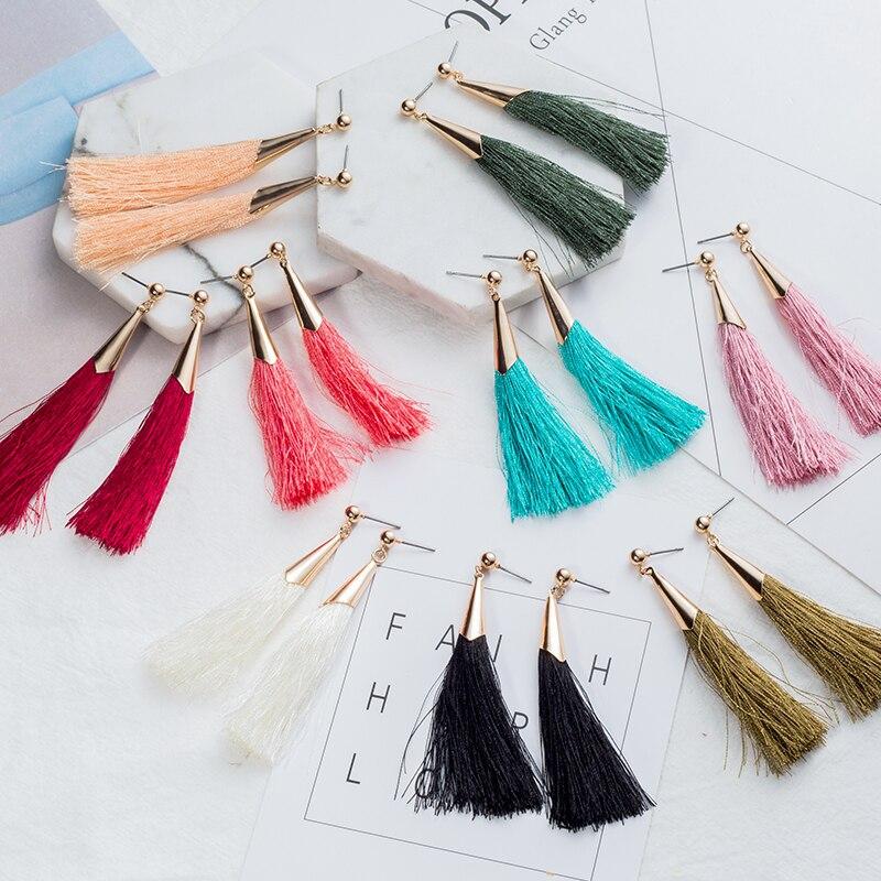 Drop tassel earrings for women Vintage Charm 10 color Tassel Long Drop Earring Wedding Party Earrings Women Fashion Jewelry