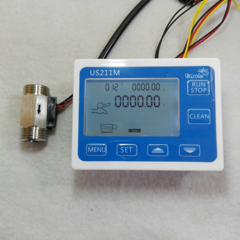 US211M Flow Meter Totalizer Flow Measurement with SUS304 Water Flow Sensor USS-HS21TIT with Temperature Sensor us208mt flow totalizer usn hs10pa 0 5 10l min 10mm od flow meter and alarmer totalizer frequency counter hall water flow sensor