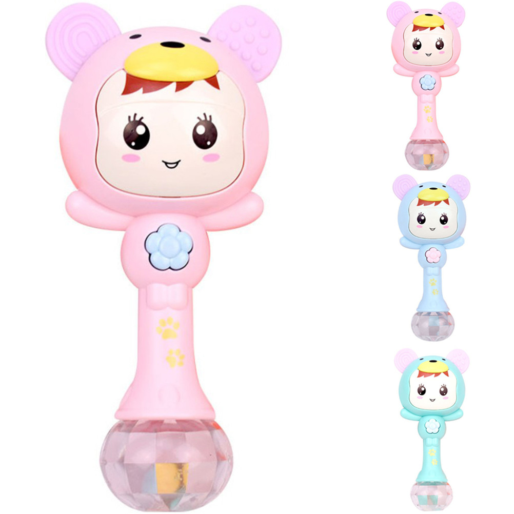 3colors Baby Rattle Toy Music Sand Hammer Toy Flashing Early Education Puzzle Baby Grip Trainer Teether Interactive Baby Toys