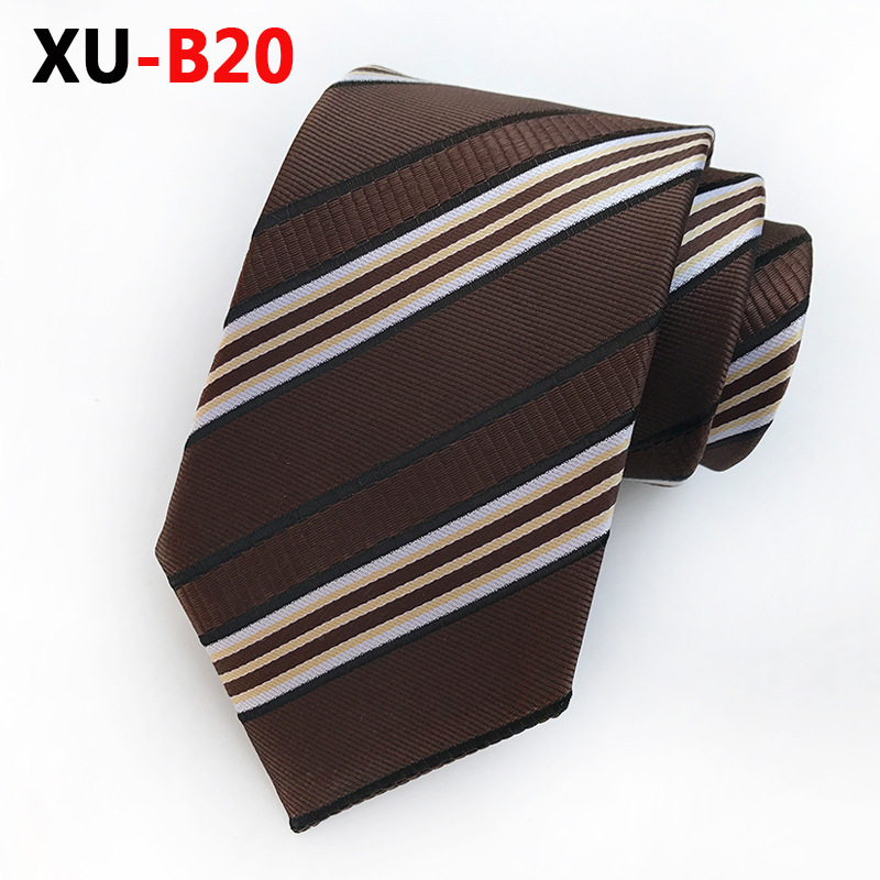 Brown Striped Tie 8 Cm Business Casual Show The Man Is Calm And Calm Plaid Shirt Is The Perfect Match