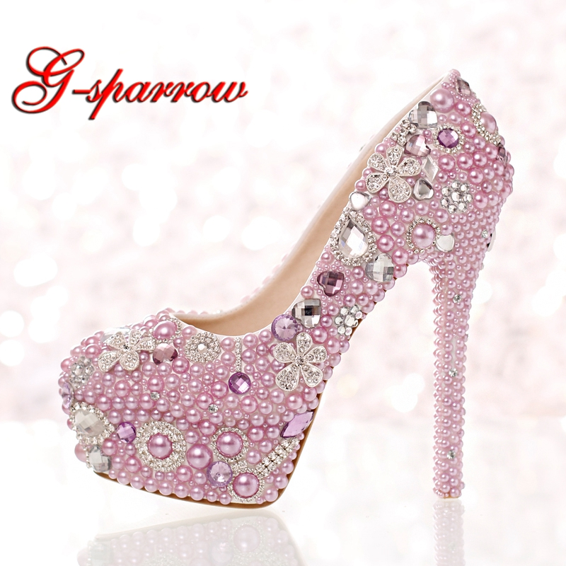 Beautiful Lavender Purple Pearl Bridal Shoes Special Event Party High Heels Women Prom Dress Shoes Gorgeous Rhinestone Pumps pure white pearl wedding dress shoes gorgeous red rhinestone heart shape women pumps 3 inches high heel bride shoes event pumps