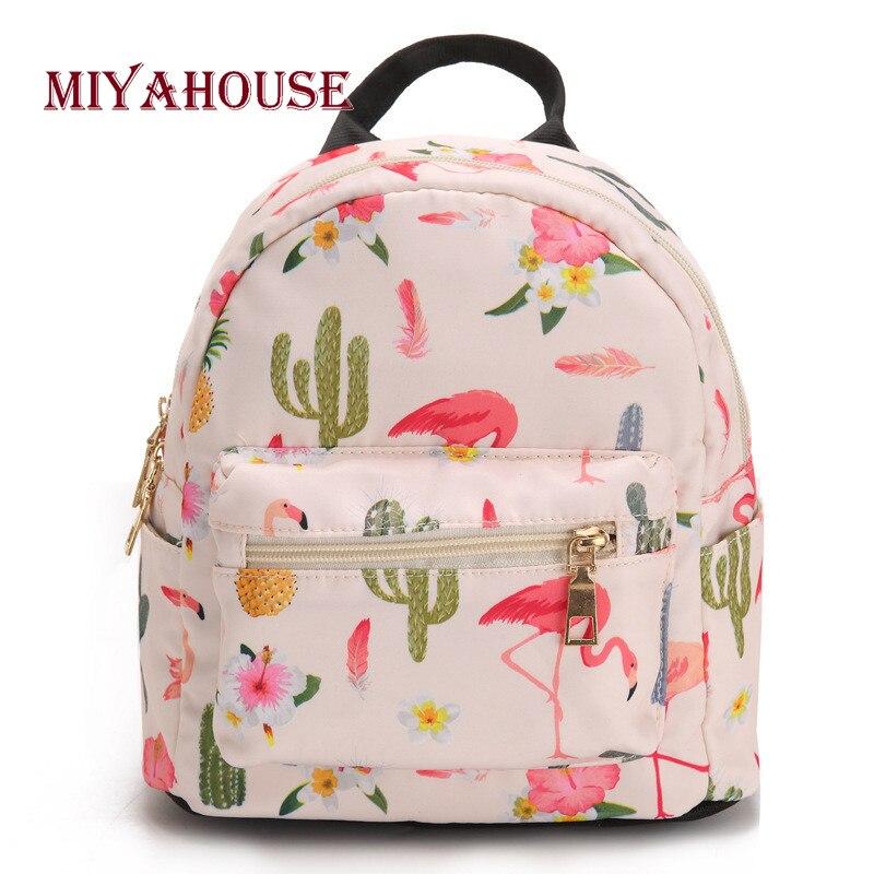 Miyahouse Female Mini Backpacks Fresh Floral Print Backpack Colorful Cartoon Small Travel Rucksack Korean Style Girls Bag