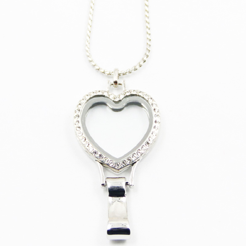 10pcs/lot Silver Crystals Heart Shape Lanyard Locket for ID Card Floating Lanyard Lockets With Free Chain locket