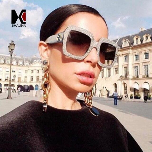Shauna Роскошные Украшенные стразами украшения Для женщин квадратный Солнцезащитные очки для женщин Женская Градиент/прозрачные линзы Очки UV400