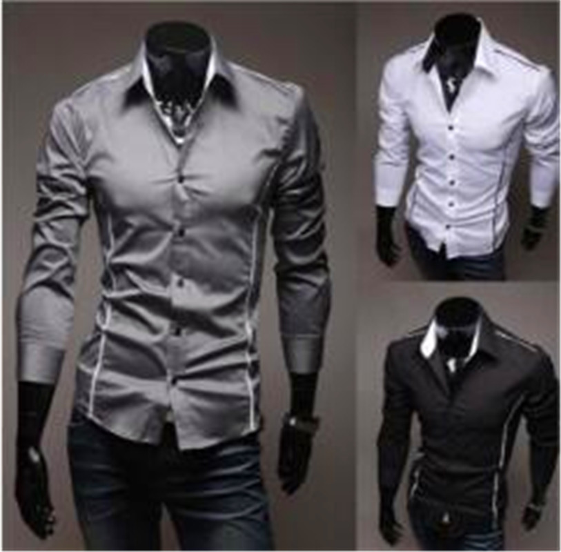 Men Shirt Fashion Cotton Slim Men Shirt Long Sleeve High Quality Casual Black/White/Gray Men Shirt For Men Size: M-XXXL