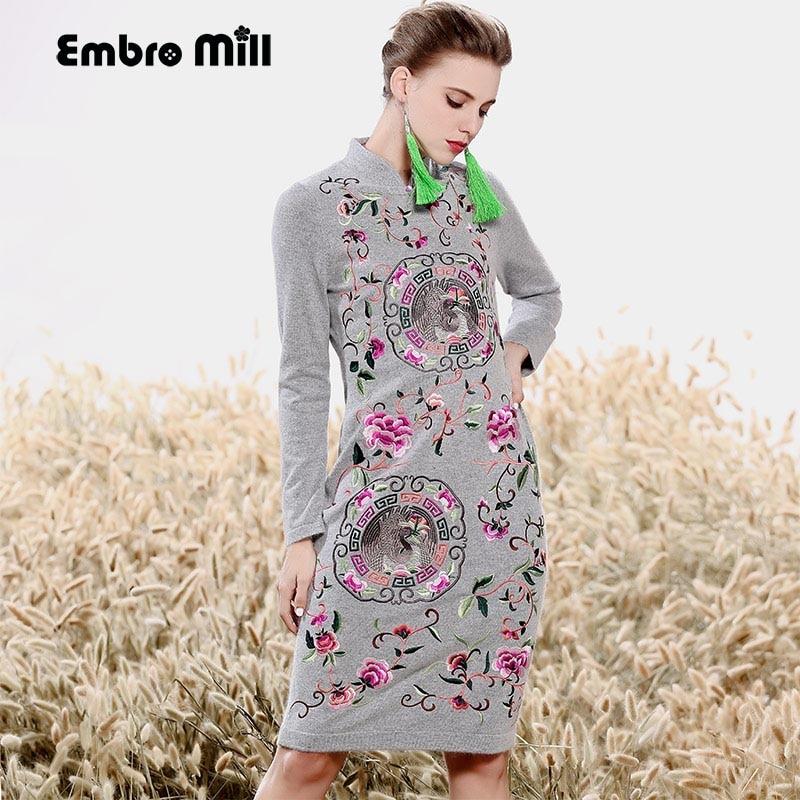 Haut de gamme automne femmes style chinois floral robe midi robes de broderie vison cachemire élégant mince dame Qipao robe de soirée M-XXL