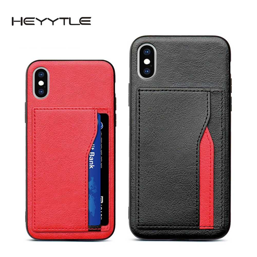 Heyytle Retro PU Leather Case For iPhone 6 6s 7 8 Plus XS Multi Card Wallet Cases For iPhone X XS Max XR Shockproof Cover Coque