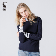 Toyouth Vintage Blue T-Shirts For Women Autumn Striped Stitching Long Sleeve Tees Casual Solid Round Neck Basic Camisetas Mujer