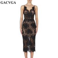 GACVGA 2019 Embroidery Black Summer Dress Women Sleeveless Sexy Party Bodycon Dress Bandage Floral Pattern Lace Dresses Vestido