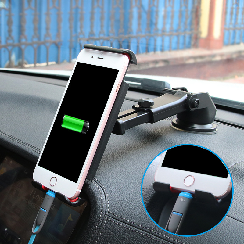 Universal Suction Cup Flexible Car Mobile Phone Stand Black Auto GPS Tablet Mount Holder for iPad Mini iPhone Sumsung