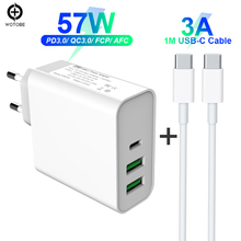 57W TYPE-C USB-C Power Adapter PD45W QC3.0 Charger For USB-C Laptops MacBook Pro/Air iPad Pro iPhone (Standardized USB-C cable)