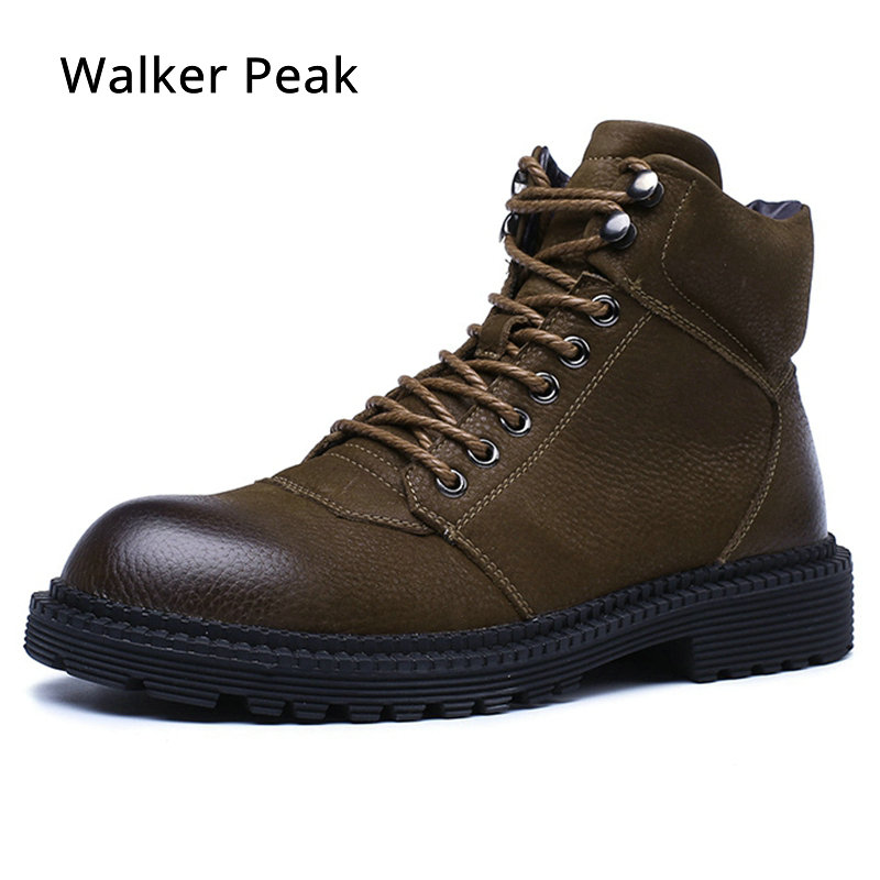 Genuine Leather Men Boots Fashion designer Warm Fur inside Brand Ankle boots Shoes men for Winter