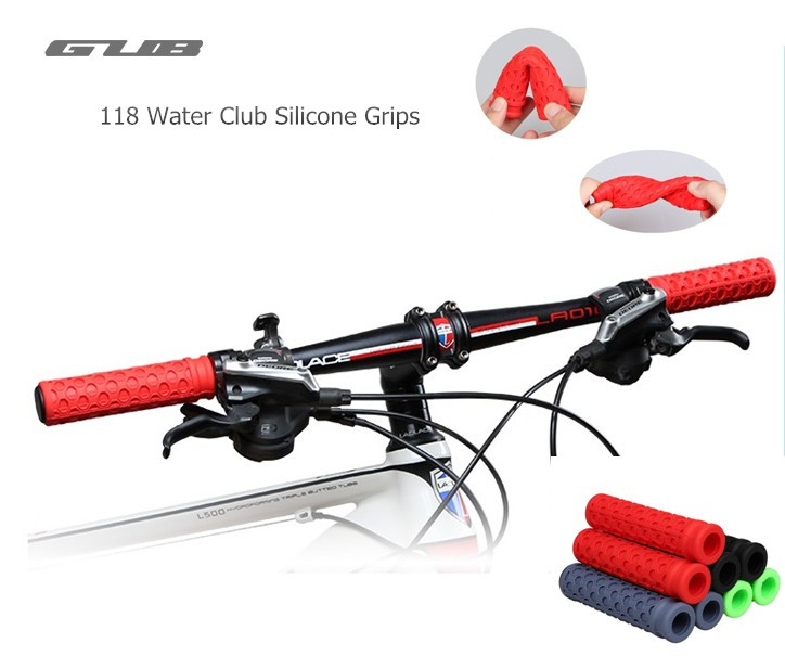 GUB 118 Water Cube Silicone Rubber Set Moutain Road Bike Grips Anti-slip Silica Gel Cycl ...