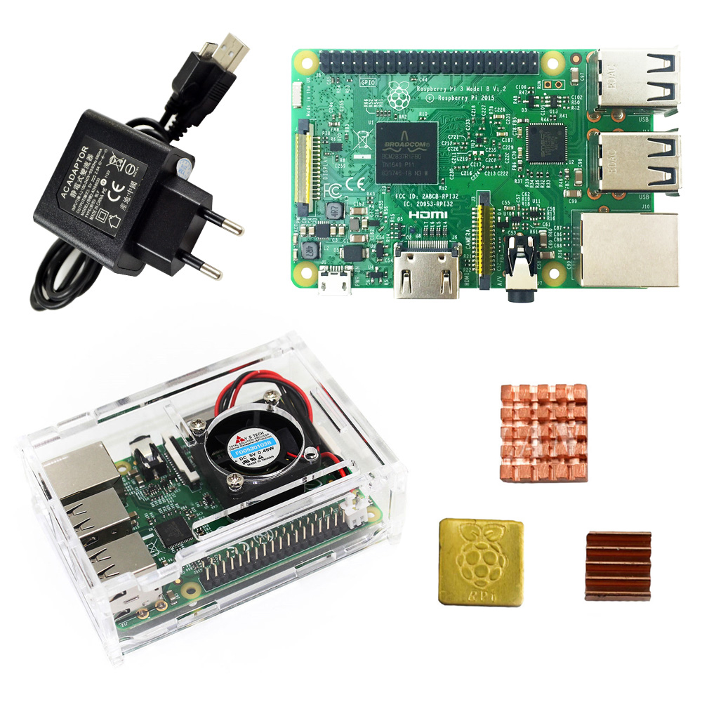 Raspberry Pi 3 Model B starter kit-pi 3 board / pi 3 case / US/EU power plug/with logo Heatsinks pi3 b/pi 3b with wifi bluetooth