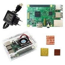 Cheap price Raspberry Pi 3 Model B starter kit-pi 3 board / pi 3 case /EU power plug/with logo Heatsinks pi3 b/pi 3b with wifi & bluetooth