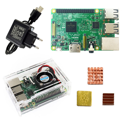 Raspberry Pi 3 Model B starter kit-pi 3 board / pi 3 case / EU power plug/with logo Heatsinks pi3 b/pi 3b with wifi bluetooth