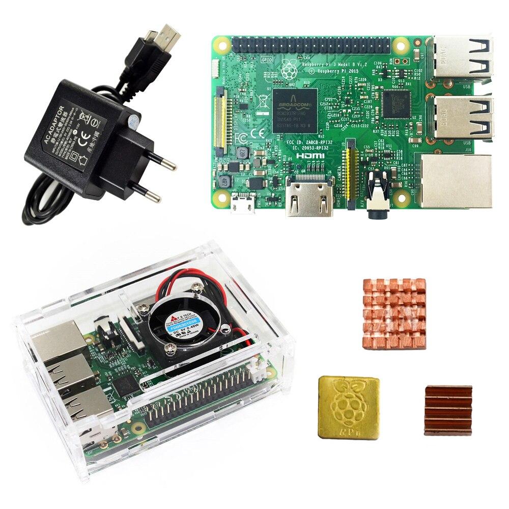 Raspberry Pi 3 Modell B starter kit-pi 3 board/pi 3 fall/US/EU netzstecker/mit logo Kühlkörper pi3 b/pi 3b mit wifi bluetooth