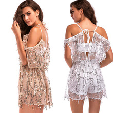 MUXU summer suspender backless mesh gold sequin glitter fringe jumpsuit short  bodies woman sexy transparent body suit jumpsuits fringe detail striped glitter mesh top