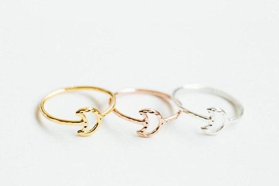 √Luna knuckle ring-30 unids/lote martillado línea Luna nudillo ...