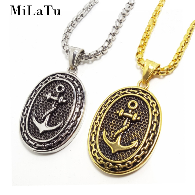 Milatu oval punk anchor pendant necklace men party jewelry stainless steel navy hook pendant free chain