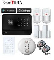 SmartYIBA RFID Keypad WIFI APP Control GSM GPRS Alarm System Door Window Sensors Smoke Sensor Burglar