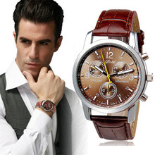 Wristwatches Male Brown Faux Leather Quartz Watches Wrist Watch for Men Gift 1pc Relogio Masculino F3