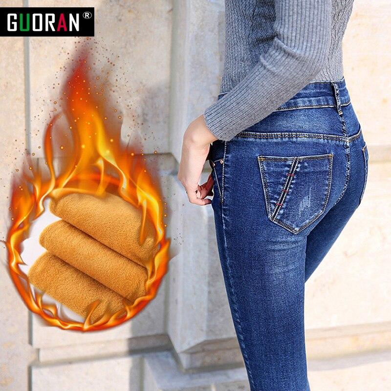 Winter Jeans Woman Warm Female Pencil Pants Ladies Plus Size Slim Feet Jeans Long Trousers Women Jeans Femme Plus Size