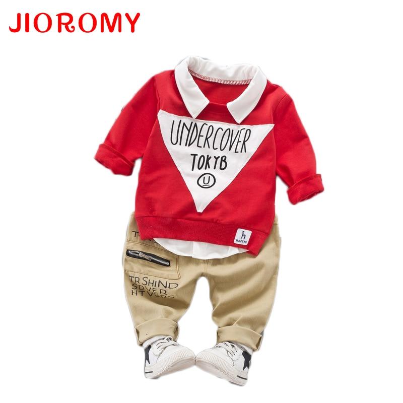JIOROMY Boys Clothes Suits 2017 Autumn Korean Alphabet Printing Long Sleeve Lapel T-shirt + Casual Trousers Kids Clothing Set