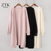 women sweater solid white pink long knitted cardigans ladies autumn coat new arrival harajuku casual women winter clothes