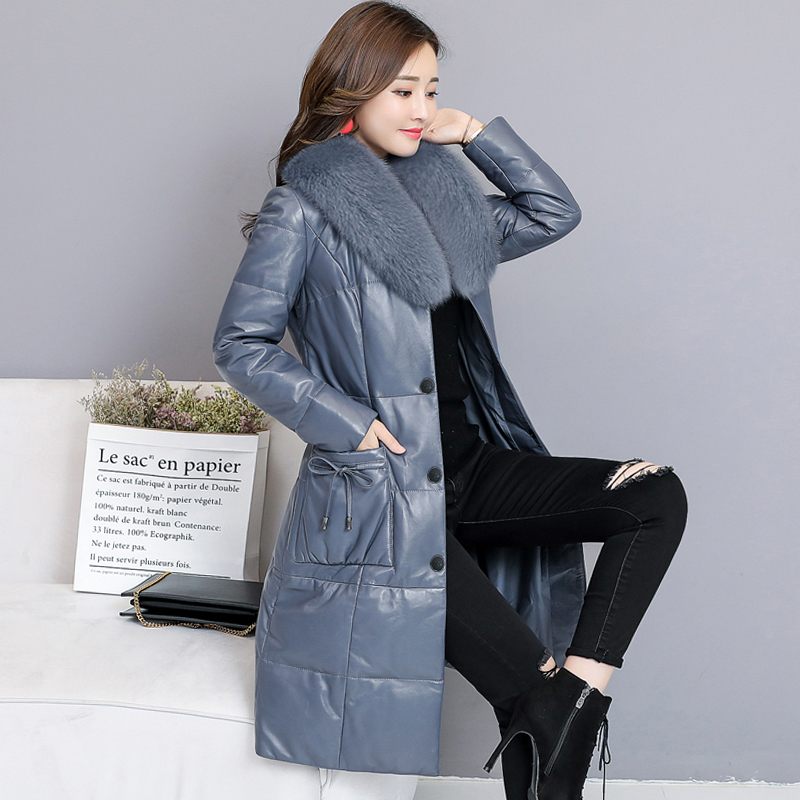 Autumn winter leather women's down jacket long paragraph imitation fox fur collar Warm Leather Coat Down Parkas Jackets S~4XL
