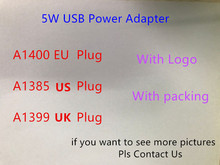 50pcs/lot 5W 5V 1A wall charger US EU UK plug home adapter A1385 A1400 A1399 Wall Charger Plug with retail box