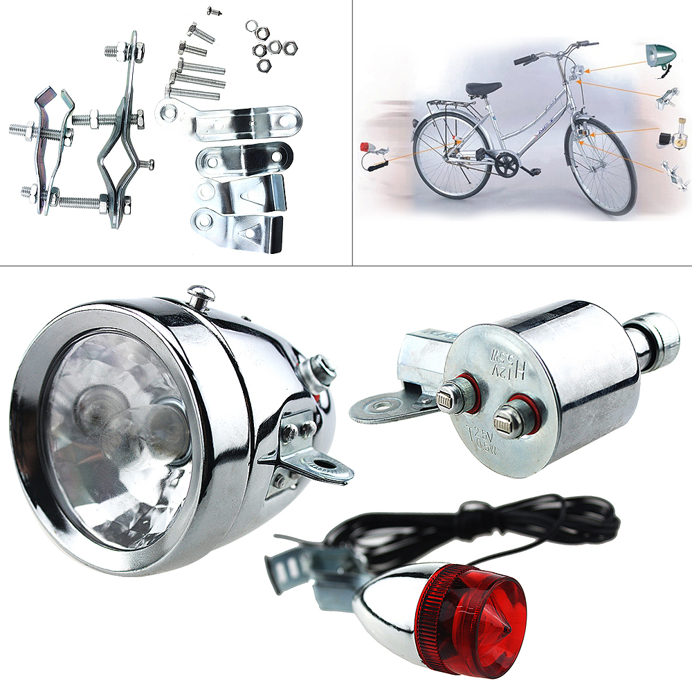 12V 6W Bicycle Motorized Bike Friction Generator Dynamo Headlight Tail Light Kit Light LED Lamp MTB Retro Bike LED Lights