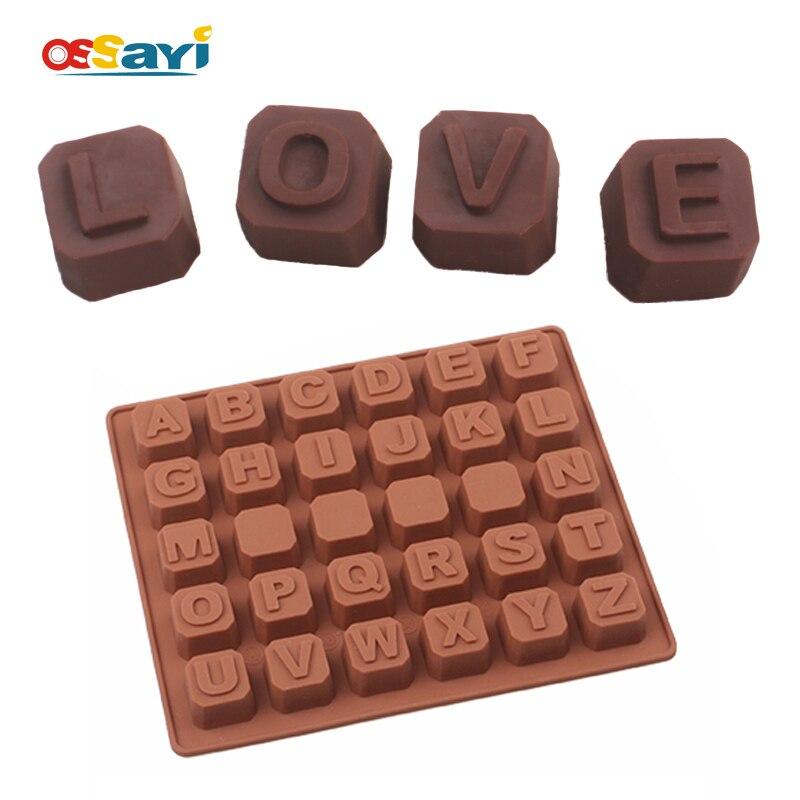 초콜릿 몰드 귀여운 사랑스러운 편지 실리콘 퐁당 케이크 초콜릿 몰드 주방 베이킹 & 페스트리 툴 DIY 초콜릿 몰드
