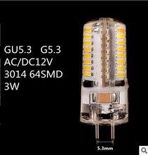 10 יח\חבילה LED GU5.3 12V LED G5.3 12V 3014 64SMD LED GU5.3 AC12V LED G5.3 DC12V קריסטל אור נברשת זרקור הנורה