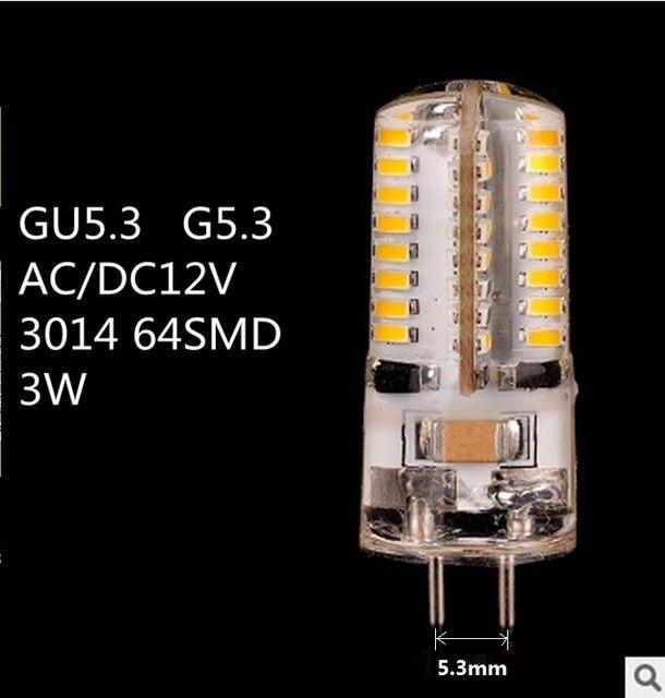 10PCS/LOT LED GU5.3 12V LED G5.3 12V 3014 64SMD LED GU5.3 AC12V LED G5.3 DC12V crystal Light chandelier Spotlight bulb
