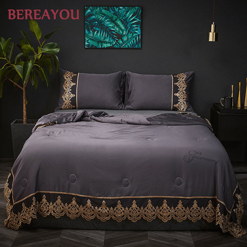 Luxury Tencel Lace Summer Quilts Pink Gray Bed Cover Queen King Size Blanket and Pillowcase For Boys Double Comforter colchas in Quilts from Home Garden