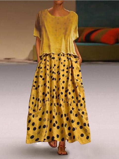 e0bcd4c2d2ec9 Polka Dot Loose cotton Casual Dress Women Summer 2019 Maxi Beach Plus Size  Ladies bohemian Long Dresses For L 5XL