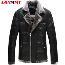 Фотография LONMMY 4XL 5XL Winter jacket men Imitation leather fur collar Parka men Lapel collar Slim fashion coat mens Black 2018