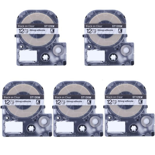 "Cidy 5 יחידות עבור Epson/מדפסת KingJim ST12KW LC-4TBW עבור LW-300 LW-400 Cassete תווית שחור על ברור 12 מ""מ"