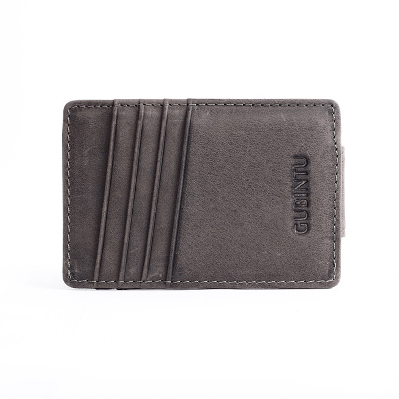 Men 12 Card Slots Money Clip Wallet Genuine Leather Multifunction Vintage Short