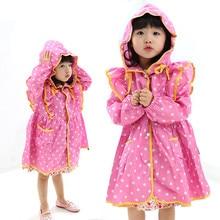 2014 cute yellow/pink nylon polka dots child princess raincoat rainwear for girls baby rain ponchos kids waterproof trench