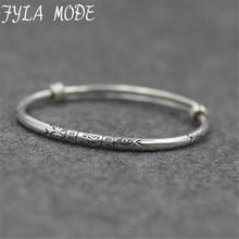 Fyla Mode Sterling Silver Jewelry Fashion Retro Lady Bracelet Bangle Folk-custom Hand Carved Small Fish Bracelets