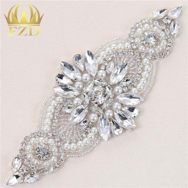 Retail Pearl Sewing Rhinestones Wedding Belt Appliques Crystal Trimming Hot  Fix Strass Patches For Clothes Beaded Iron on 85a2e572d86e