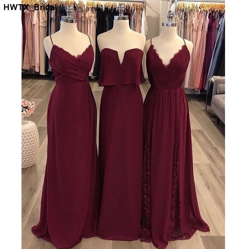 Elegant Spaghetti Straps Chiffon Bridesmaid Dress Long Dress For Wedding Party For Woman Burgundy Bridesmaid Dresses Custom Made