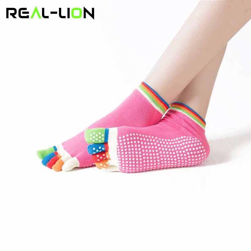 Reallion Women Yoga Socks Anti-slip Fingers Non-Slip Elastic 5 Toe Sport Socks Fitness Pilates Colourful Cutton Socks Hot Sale non slip toeless yoga socks with grip for women