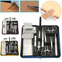 11/13/19Pcs Suture Practice Kit Medical Student Surgical Debridement Skin Model Suture Needle Scissors Tweezers Course Tool Set