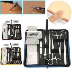 Kit de práctica de sutura 11/13/19 Uds. Juego de Herramientas de curso de desbridamiento quirúrgico para estudiantes de medicina, modelo de piel, aguja de sutura, tijeras