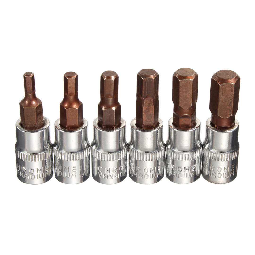 цена на DWZ New 6pcs Aluminium Alloy Metric 1/4 Drive Hex Bit Socket Set For Parbuckle Screw