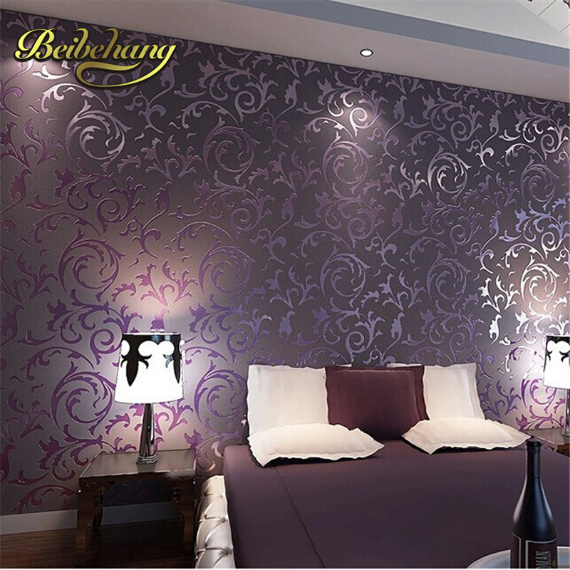купить beibehang wallpaper High quality wallpaper 3D fashion papel de parede bedroom background desktop wall paper rolls White Purple в интернет-магазине