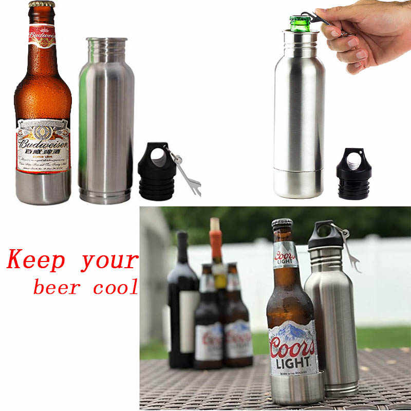 Stainless Steel Beer Bottle Holder Bottle Opener Insulator within Bottle Keeps Beer Cold Fits Most 12oz Bottles